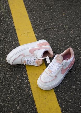 Nike air force shadow white orange кроссовки найк женские форсы аир форс кеды обувь взуття5 фото