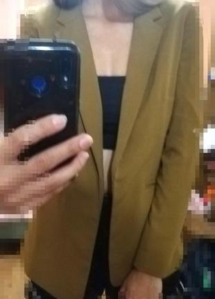 Пиджак блейзер жакет коричневый горчичный удлинённый женский
