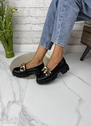 Кожаные туфли лоферы цепь