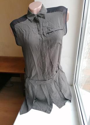 Удлиненная блузка хаки люкс бренд allsaints 100% шелк (к003)