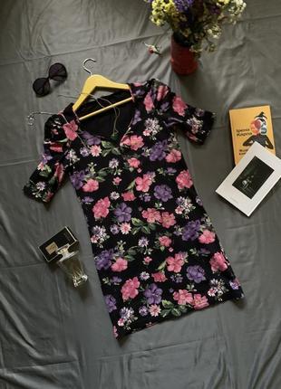 Платье в цветы, мини платье, платье летнее