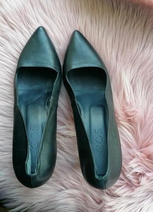 Черные кожаные туфли дорогого бренда cos классика (к091)
