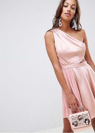 Пыльно розовое платье с разрезом zara zara