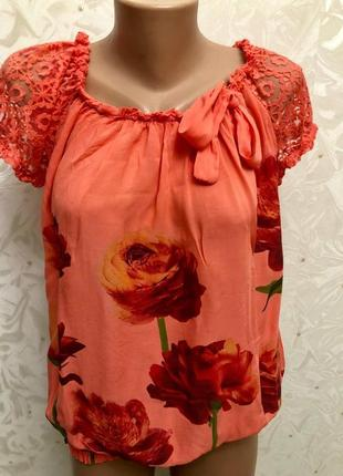 Блуза коралловая модная стильная италия блузка красивая шикарная розы цветы