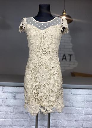 Мережевне молочне плаття кружевное платье