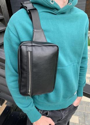 Мужская поясная сумка, бананка, через плечо/нагрудная кожаная прямоугольная, регулируемый ремень