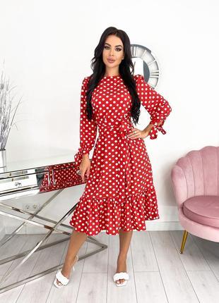 Женское платье миди в горошек2 фото