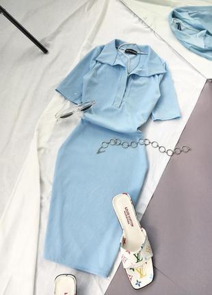Блакитна міні сукня / поло prettylittlething