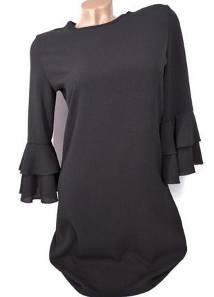 🛍️super sale -50%🛍️легкое черное платье с красивыми рукавами от missguided size 6