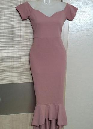 Акция 1+1=3🤑🤩роскошное нарядное платье миди футляр пудра рощовое с воланом на плечики