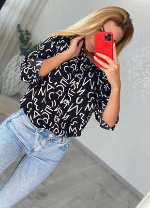 Женская рубашка черна с буквами 50 52 54 56