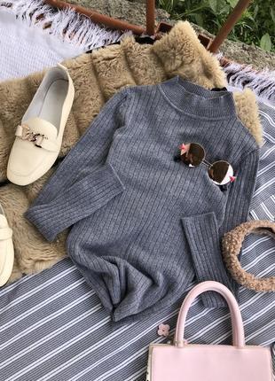 Актуальна кофта в рубчик водолазка світшот светр светер худи джемпер сіра
