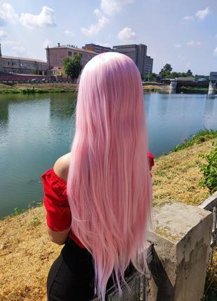 Парик длинный розовый, ровный, для фотосессии, косплей, аниме