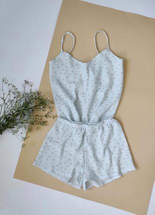 Нежная пижама из муслина в цветочек
