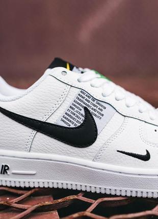 Кроссовки найк женские форсы аир форс кеды обувь nike air force black white2 фото