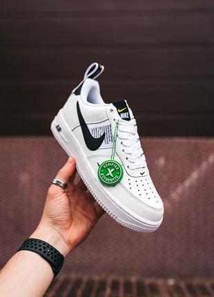Кроссовки найк женские форсы аир форс кеды обувь nike air force black white8 фото