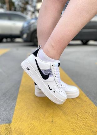 Nike air force black white кроссовки найк женские форсы аир форс кеды6 фото