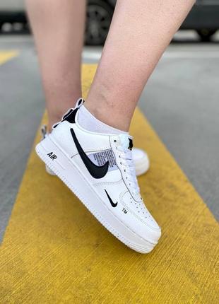 Nike air force black white кроссовки найк женские форсы аир форс кеды5 фото