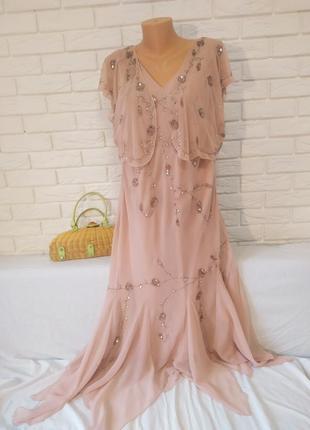 Красивое  нарядное  платье с болеро  большого  размера расшитое бисером и паетками от  berkertex