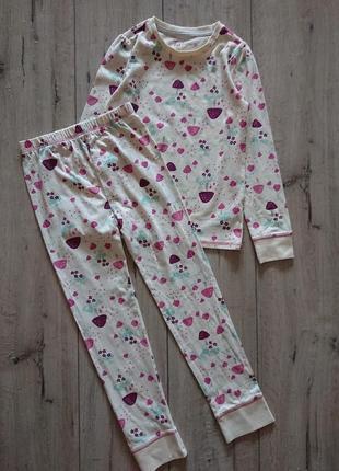 Tu новая хлопковая пижама на девочку с манжетами 7-8 лет 116-128 см