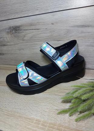 Босоножки липучка 🌿 голограмма платформа сланцы сандалии сабо