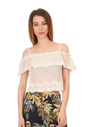 Нежная кружевная летняя блуза, кроп топ divided h&m.