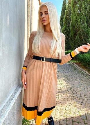 Женское платье миди трикотаж вязка