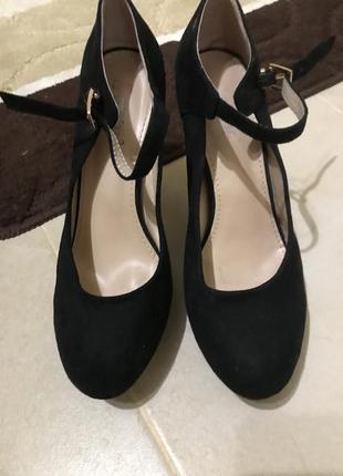 Туфли замша на высоком каблуке