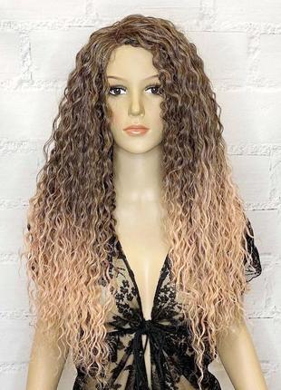Перука на сітці lace front wig рожева коричнева довга кучерява термостійка без чубчика