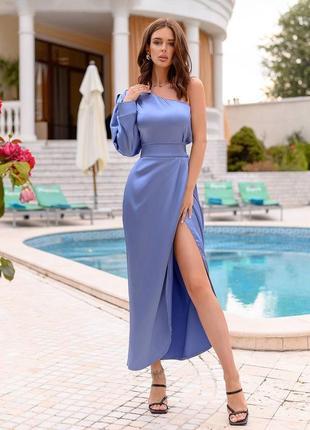 Сатиновое платье на одно плече с разрезом