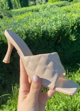 Мюли шлепанцы 🌿 в стиле боттега венета квадратный носок на каблуке шпилька шлепки