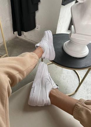 Nike air force pixel white кроссовки найк женские форсы аир форс кеды пиксель обувь6 фото