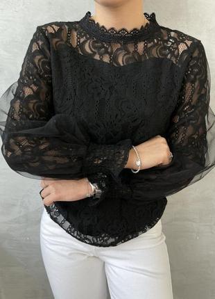 Женская ажурная кружевная блуза