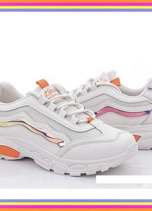 Классные модные лёгкие женские кроссовки- белые- 36-40- качество!.