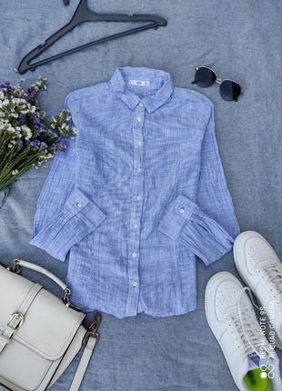 Сорочка блузка голубая рубашка женская блюзка блуза топ кофта3 фото