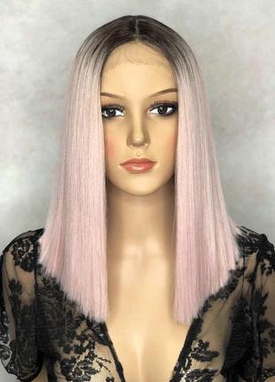 Перука на сітці lace front wig рожева блонд каре омбре термостійка без чубчика