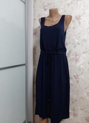 Шикарное темно синее легкое летнее платье