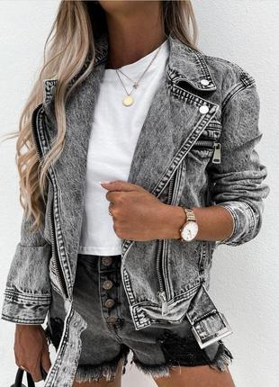 Женская джинсовая куртка косуха