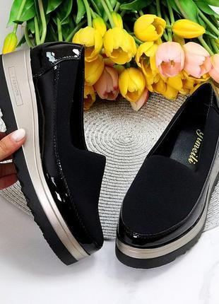 """Туфли """"melli"""", чёрные с бронзой, эко-кожа"""
