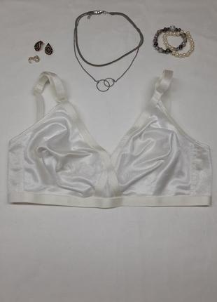 Белый молочный шёлковый атласный сексуальный однотонный винтажный гладкий мягкий бюстгальтер бра лифчик без паролона и косточек на шыроких бретелях