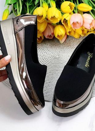 """Туфли """"melli"""" , чёрные с бронзой, эко-кожа"""