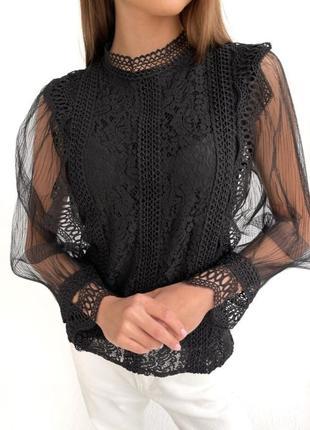 Женская ажурная блуза с длинным рукавом