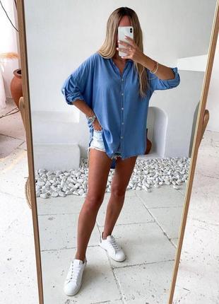 Рубашка оверсайз синяя s l 2xl