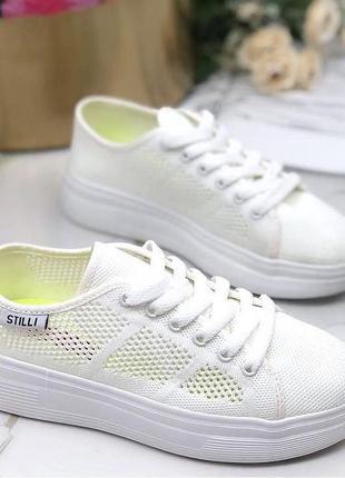 Белые стильные кедики на пене из обувного текстиля 500 грн