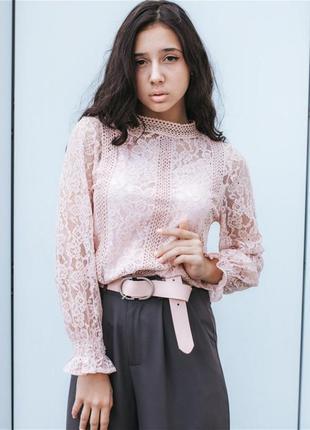 Женская ажурная гипюровая блуза с длинным рукавом