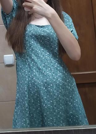Бирюзовое платье в цветочек