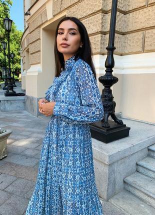 Женское шифоновое платье миди с принтом4 фото