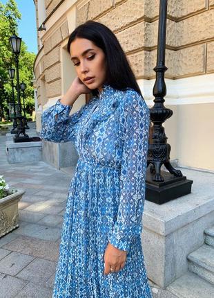 Женское шифоновое платье миди с принтом5 фото