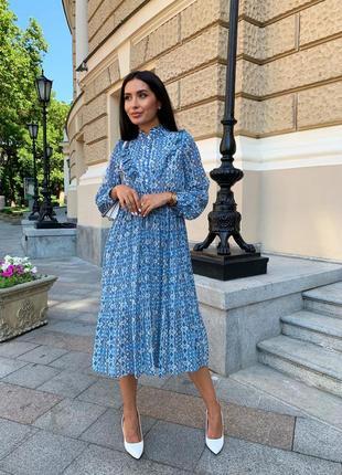 Женское шифоновое платье миди с принтом2 фото