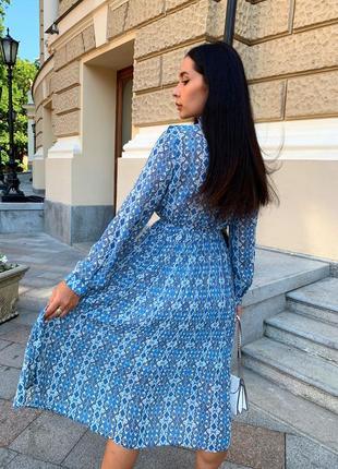 Женское шифоновое платье миди с принтом9 фото